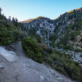 The upper portion of the trail consists of steep climbs and widening views of the surrounding peaks.- Icehouse Saddle via Icehouse Canyon