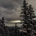 A view toward Mount Hood on a cloudy day.- Devils Peak Lookout