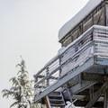Frost on the lookout guardrail in winter.- Devils Peak Lookout