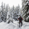 A hiker trudges through deep snow along the trail in winter.- Devils Peak Lookout