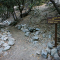 A sign along the Icehouse Canyon Trail marks the fork for the Chapman Trail.- Icehouse Saddle via Chapman Trail