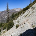 A feature of this trail is the numerous sites of flash flooding and landslides that it crosses.- Icehouse Saddle via Chapman Trail
