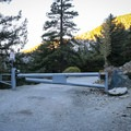 The gate at the base of Falls Road.- Mount Baldy Summit via Ski Hut Trail