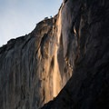 The Horsetail Fall firefall in its golden phase, photographed from the El Capitan picnic area.- Horsetail Fall, Firefall