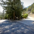 Parking area and trailhead just above Manker Flats Campground.- Mount Baldy Summit via Ski Hut Trail