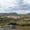 Gros Morne Mountain (807 m), left, and the plateau of the Long Range Mountains.- The Long Range Traverse