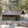 The campground has one shared bathroom.- Manker Flats Campground