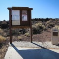 Pay station and info signage.- Fossil Falls Campground