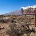 Entrance to Fossil Falls Trail and campground from Highway 395.- Fossil Falls Campground
