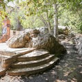Intersection of the Rising Sun and Solstice Canyon trails at the Tropical Terrace.- Rising Sun Trail