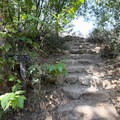 Steps inside the gate at the trailhead marking the TRW Trail lead to the Rising Sun Trail.- Rising Sun Trail