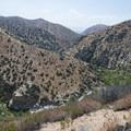 View west to Deep Creek Canyon toward the Mojave Desert.- Deep Creek Hot Springs