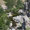 View of the pools adjacent to Deep Creek Hot Springs.- Deep Creek Hot Springs