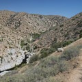 First view of the swimming pools at Deep Creek Warm Springs.- Lower Deep Creek Canyon + Warm Springs