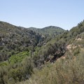 View south and upstream of Upper Deep Creek Canyon.- Aztec Falls Swimming Hole