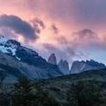 The Torres del Paine, for which the park is named, viewed at dusk from the lodges at Torre Central.- The W Trek
