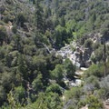 View back south to Aztec Falls from the Pacific Crest Trail.- Upper Deep Creek Canyon to Devils Hole