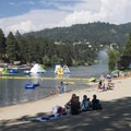 Swim Beach on the southwestern shore of Lake Gregory Regional Park.- Lake Gregory Regional Park