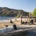 Swim beach and picnic area at Silverwood Lake State Recreation Area.- Silverwood Lake State Recreation Area