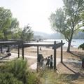 Silverwood Lake's main swim beach and day use area.- Silverwood Lake Swim Beach