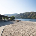 Summer concession area/cafe at Silverwood Lake Swim Beach.- Silverwood Lake Swim Beach