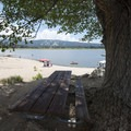 Swim beach and picnic area at East Public Boat Launch on Big Bear Lake.- East Public Boat Launch