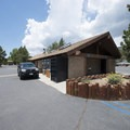 Main offices and restroom facilities at East Public Boat Launch.- East Public Boat Launch