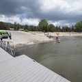 Swim beach and boat ramp at East Public Boat Launch on Big Bear Lake.- East Public Boat Launch