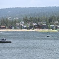 View east to residences along Big Bear Lake.- Big Bear Lake West Shore Beach