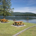 View of Cultus Lake from Entrance Bay Day Use Area and Swim Beach.- Entrance Bay Day Use Area + Swim Beach