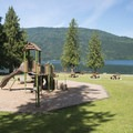 Playground structure at Entrance Bay Day Use Area and Swim Beach.- Entrance Bay Day Use Area + Swim Beach