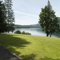 Site A overlooking Cultus Lake at Honeyman Bay Group Campground.- Honeymoon Bay Group Campground