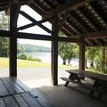 Site A picnic shelter at Honeymoon Bay Group Campground.- Honeymoon Bay Group Campground