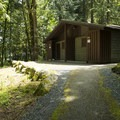 Restroom and shower facilities at Honeymoon Bay Group Campground.- Honeymoon Bay Group Campground
