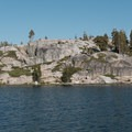 Southern Shore Cliffs and campsites.- Island Lake via Round Lake Trail