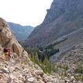 Back down the boulder field leaving Black Canyon Lake.- Black Canyon Lake