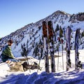 Taking in the view and scoping out lines at Catherines Pass.- Catherines Pass Backcountry Ski