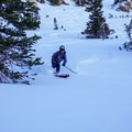Skiing down into Big Cottonwood Canyon.- Catherines Pass Backcountry Ski