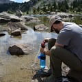 Filtering water can be challenging given the algae in the lake.- Titcomb Basin via Island Lake