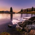 A gorgeous sunset and the last showing of ice on Frying Pan Lake.- Sky High Lakes Basin