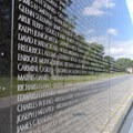 Names of those who gave their lives during the Vietham War are carved into the Vietnam Veterans Memorial wall.- National Mall + Memorial Parks