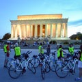 An evening bike tour group in front of the Lincoln Memorial.- National Mall + Memorial Parks