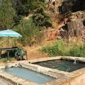 Two different sources piped into a split tub.- Feather River Hot Springs