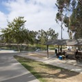 Picnic shelter at Gwen Moore Lake, Kenneth Hahn State Recreation Area.- Kenneth Hahn State Recreation Area