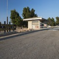 Main entry and gate at Mojave River Forks Regional Park Campground.- Mojave River Forks Regional Park Campground