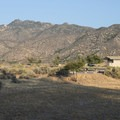 View of the San Bernardino Mountains from Mojave River Forks Regional Park Campground.- Mojave River Forks Regional Park Campground