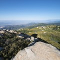 Panoramic view west to the Inland Empire, the surrounding San Bernardino Mountains and the San Gabriel Mountains.- Keller Peak Fire Lookout Tower