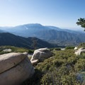 Panoramic view east toward San Bernardino Peak (10,649 ft) and the Santa Ana River Valley.- Keller Peak Fire Lookout Tower