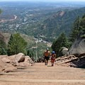 Sweeping views three-quarters of the way up.- The Manitou Springs Incline
