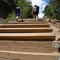 After the false summit, the incline becomes a very steep 45-degree angle.- The Manitou Springs Incline